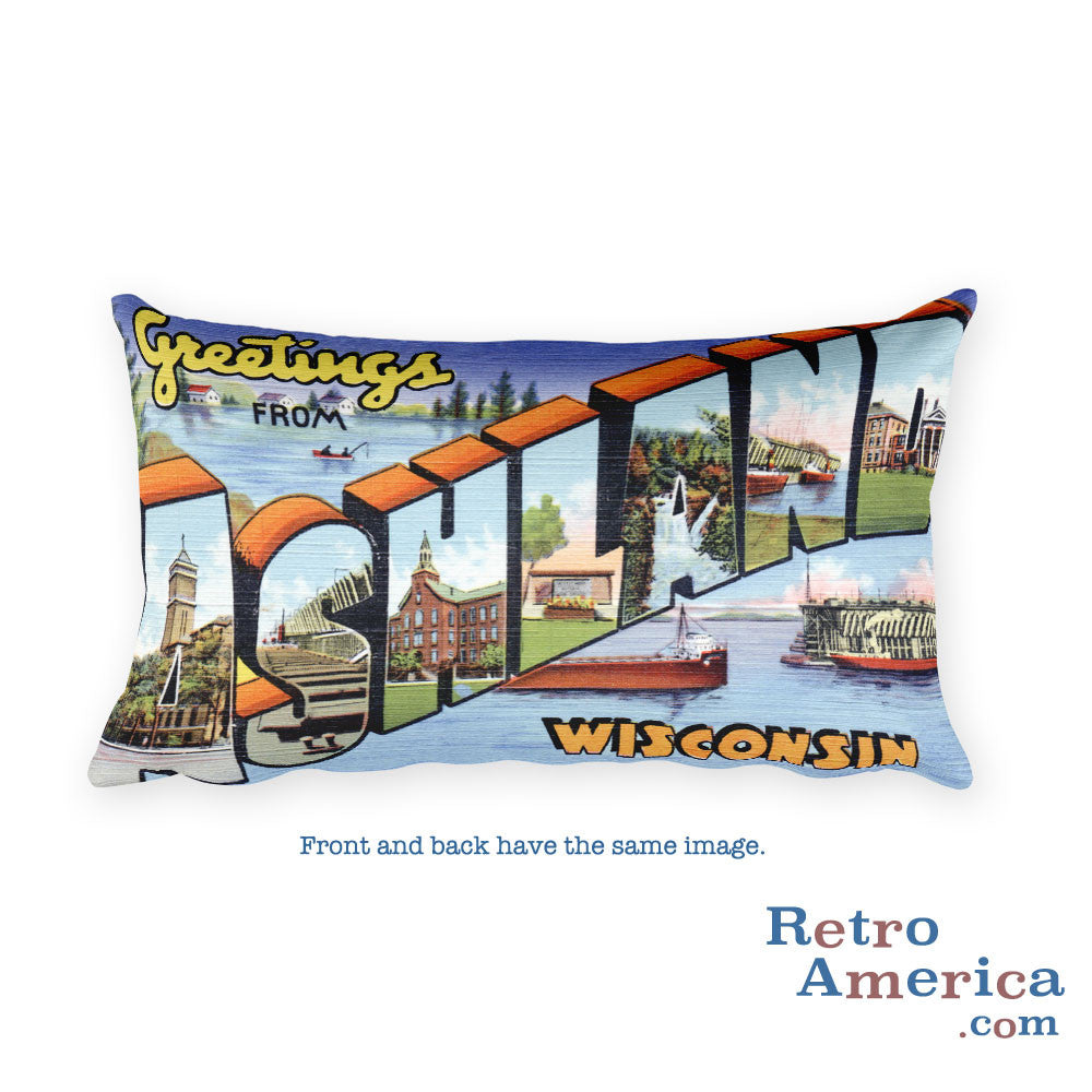 Greetings from Ashland Wisconsin Throw Pillow