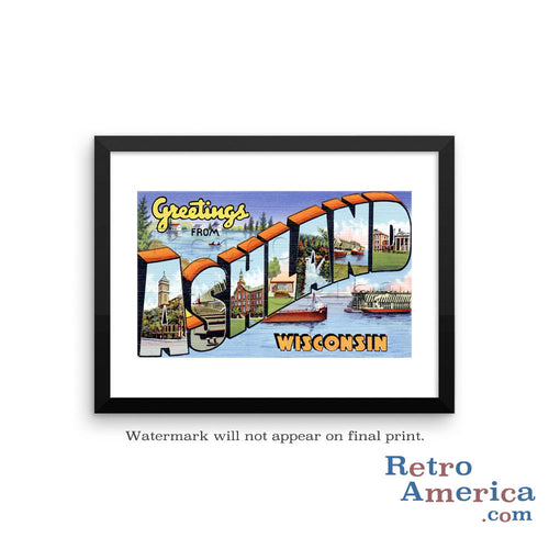 Greetings from Ashland Wisconsin WI Postcard Framed Wall Art