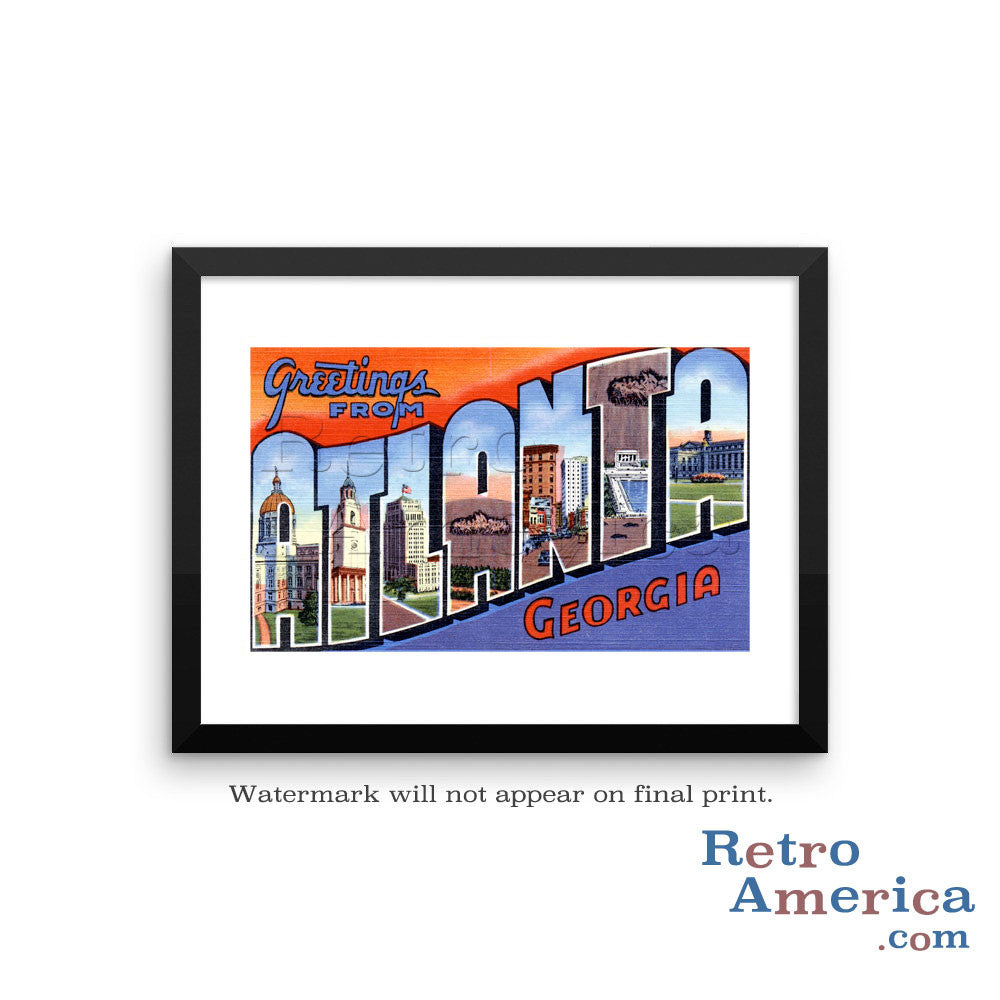 Greetings from Atlanta Georgia GA Postcard Framed Wall Art