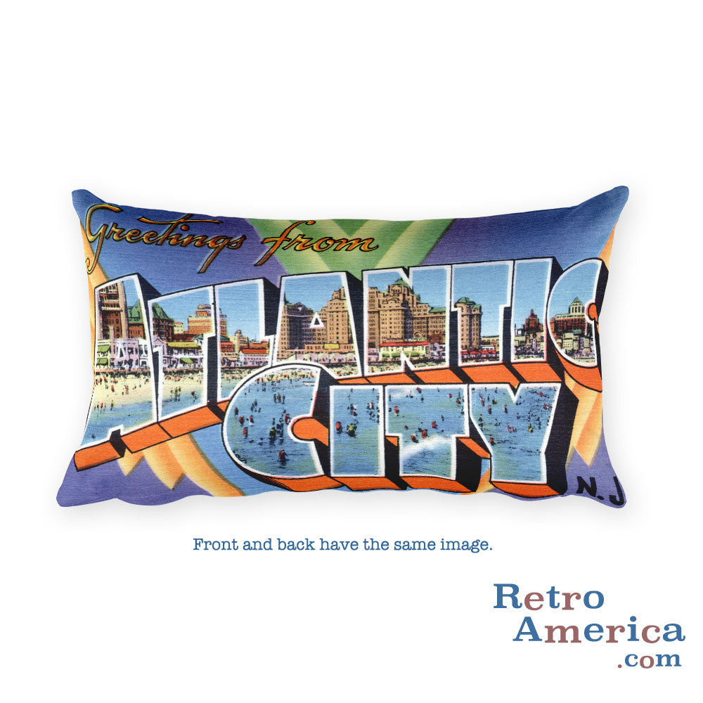 Greetings from Atlantic City New Jersey Throw Pillow 1