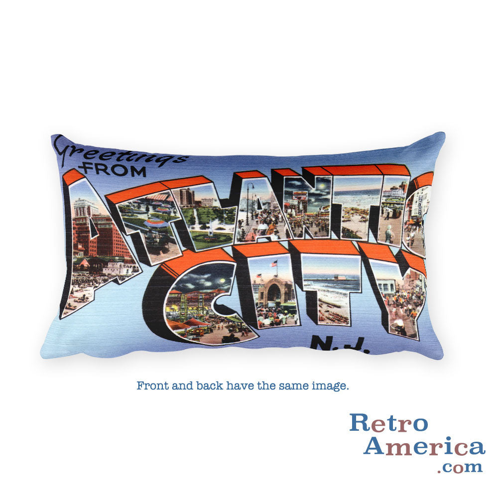 Greetings from Atlantic City New Jersey Throw Pillow 3