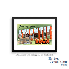 Greetings from Atlantic Iowa IA Postcard Framed Wall Art