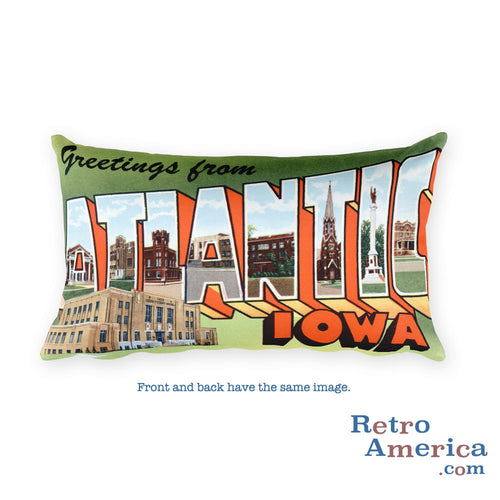 Greetings from Atlantic Iowa Throw Pillow