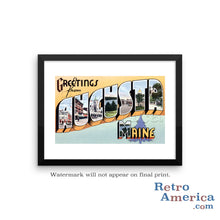 Greetings from Augusta Maine ME 2 Postcard Framed Wall Art