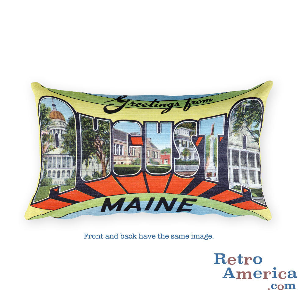 Greetings from Augusta Maine Throw Pillow 1