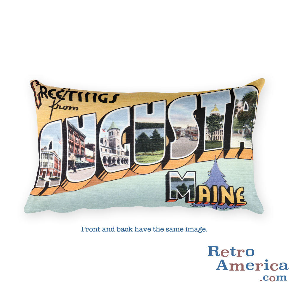 Greetings from Augusta Maine Throw Pillow 2