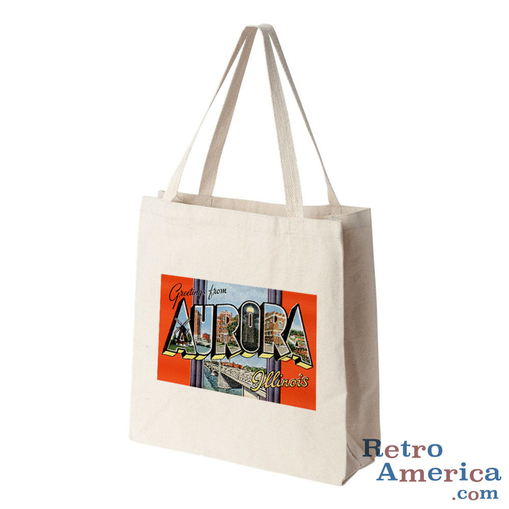 Greetings from Aurora Illinois IL 1 Postcard Tote Bag