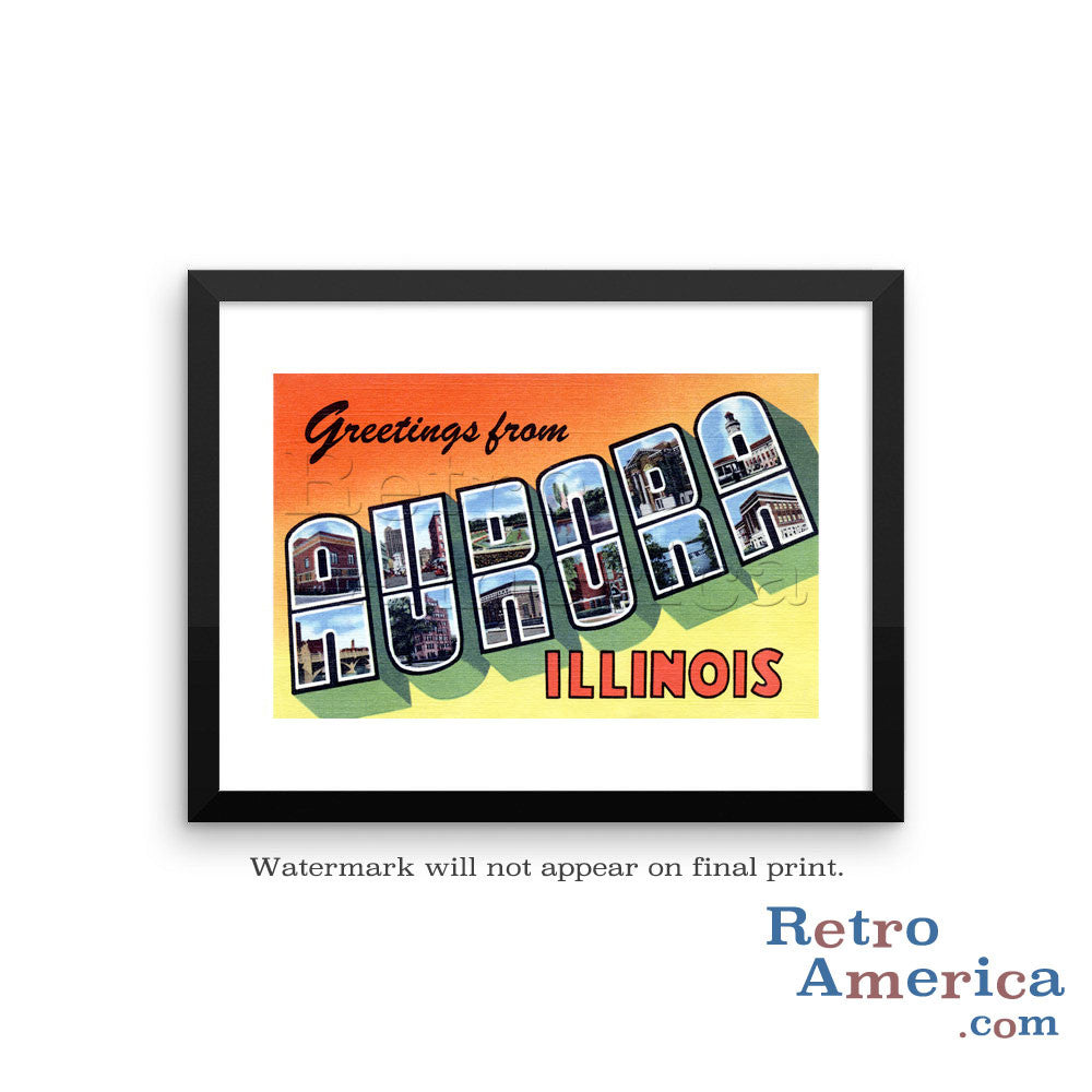 Greetings from Aurora Illinois IL 2 Postcard Framed Wall Art