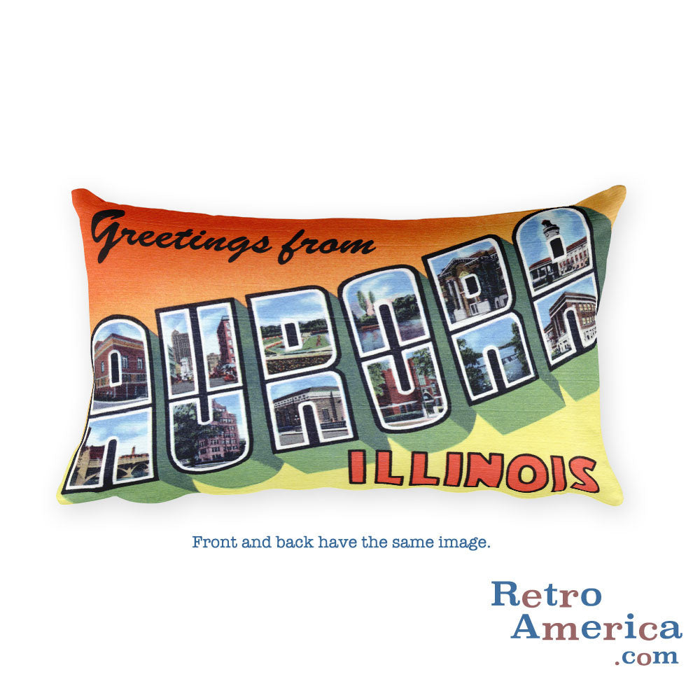 Greetings from Aurora Illinois Throw Pillow 2