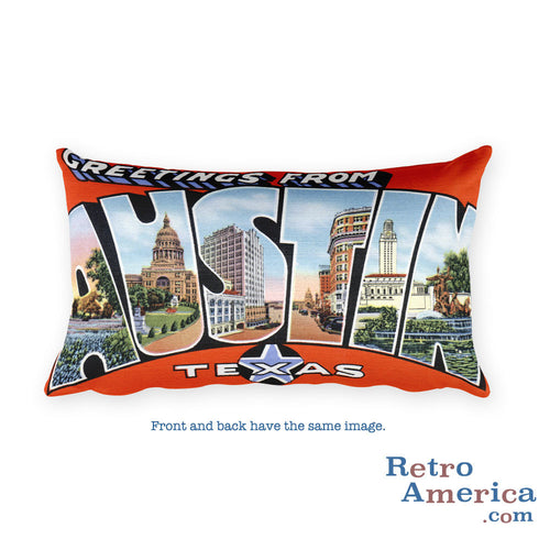 Greetings from Austin Texas Throw Pillow