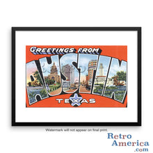 Greetings from Austin Texas TX Postcard Framed Wall Art