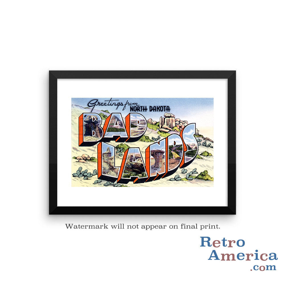 Greetings from Bad Lands North Dakota ND 1 Postcard Framed Wall Art