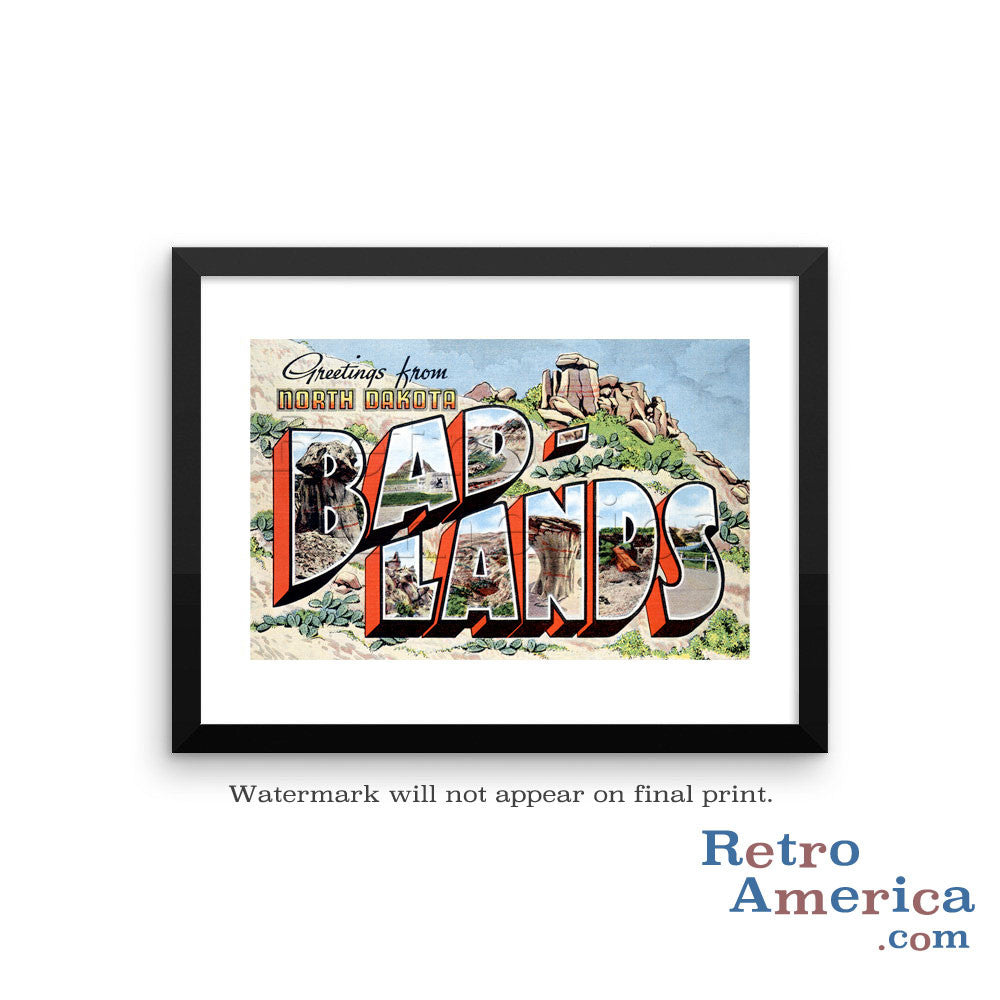 Greetings from Bad Lands North Dakota ND 2 Postcard Framed Wall Art