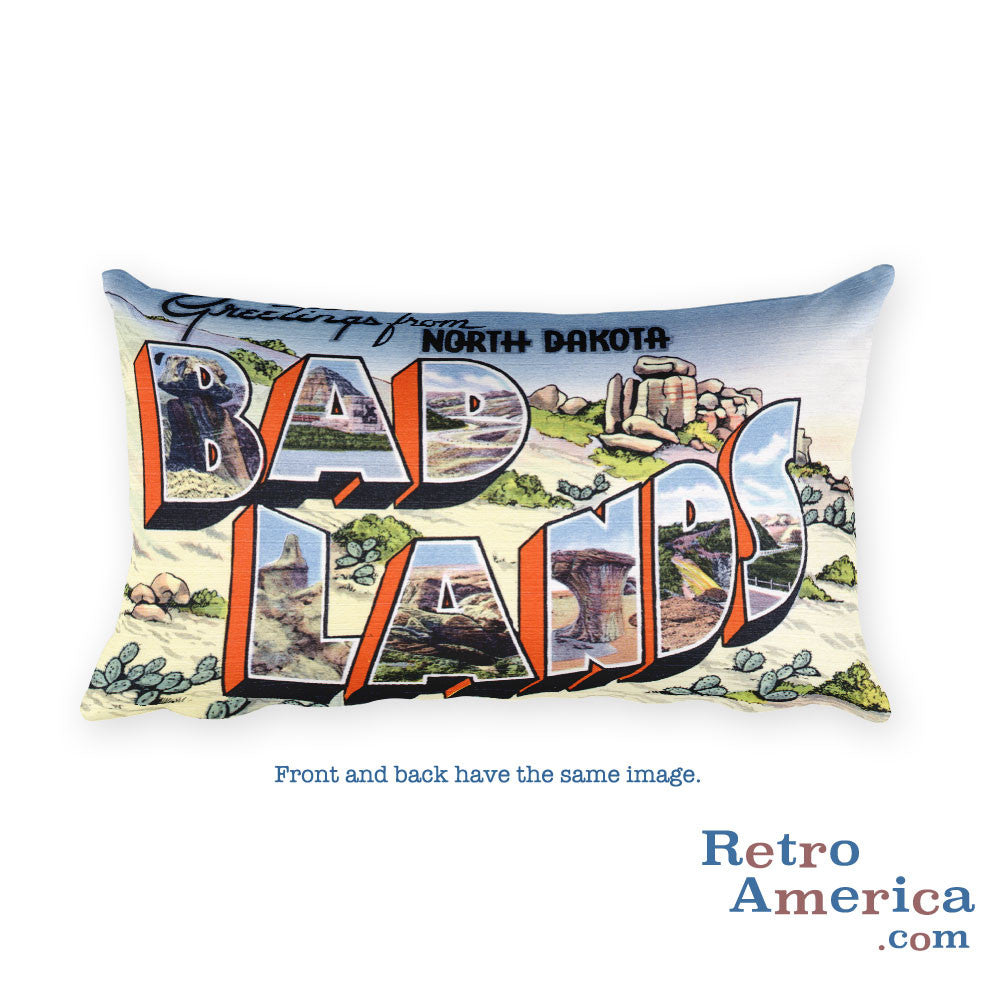 Greetings from Bad Lands North Dakota Throw Pillow 1