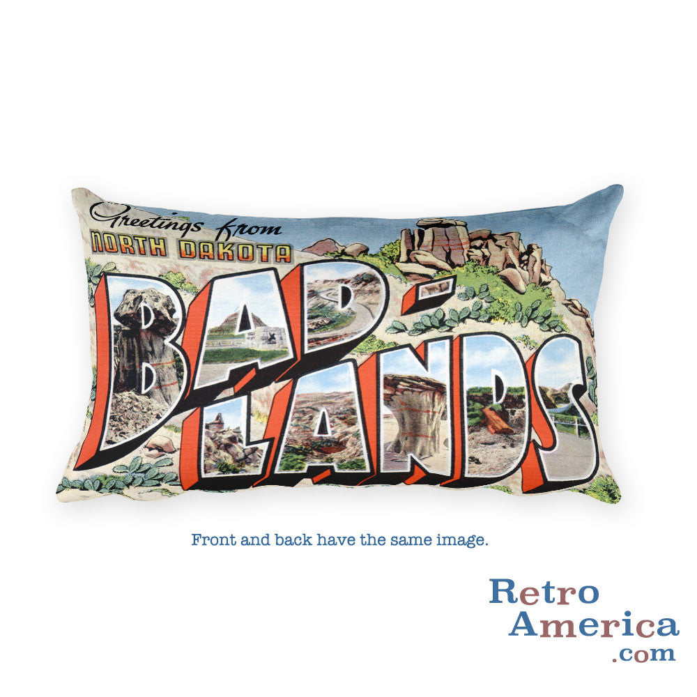 Greetings from Bad Lands North Dakota Throw Pillow 2