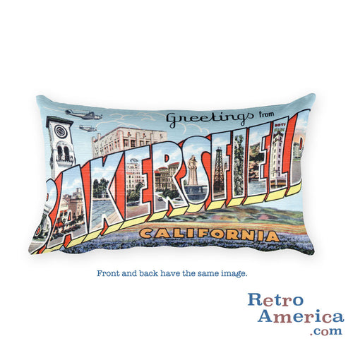 Greetings from Bakersfield California Throw Pillow