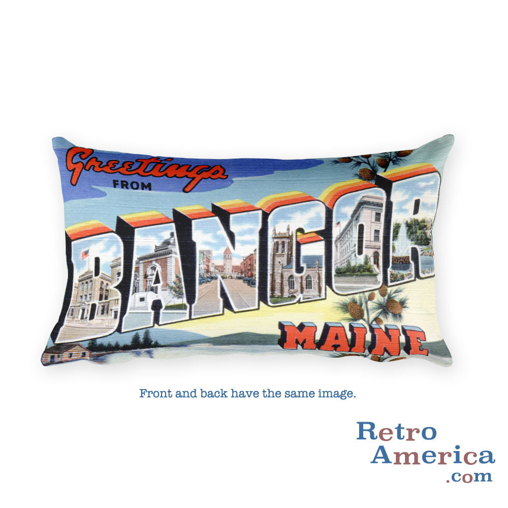 Greetings from Bangor Maine Throw Pillow