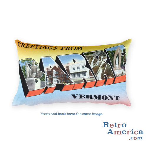 Greetings from Barre Vermont Throw Pillow