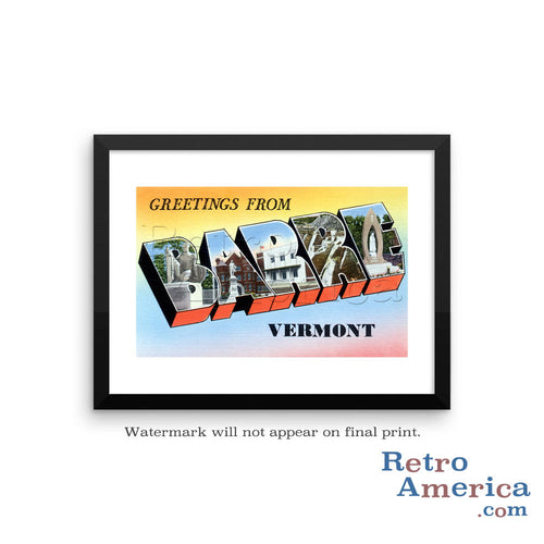 Greetings from Barre Vermont VT Postcard Framed Wall Art