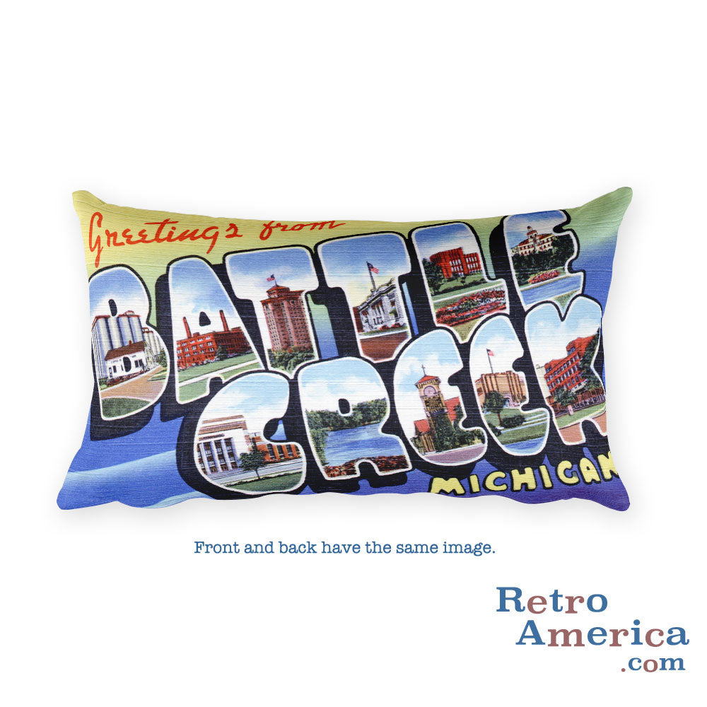 Greetings from Battle Creek Michigan Throw Pillow