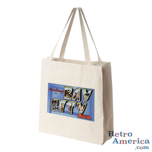 Greetings from Bay City Michigan MI Postcard Tote Bag