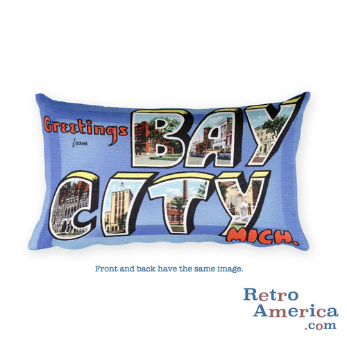 Greetings from Bay City Michigan Throw Pillow