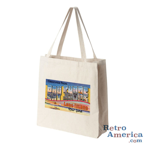 Greetings from Bay Shore Long Island New York NY Postcard Tote Bag