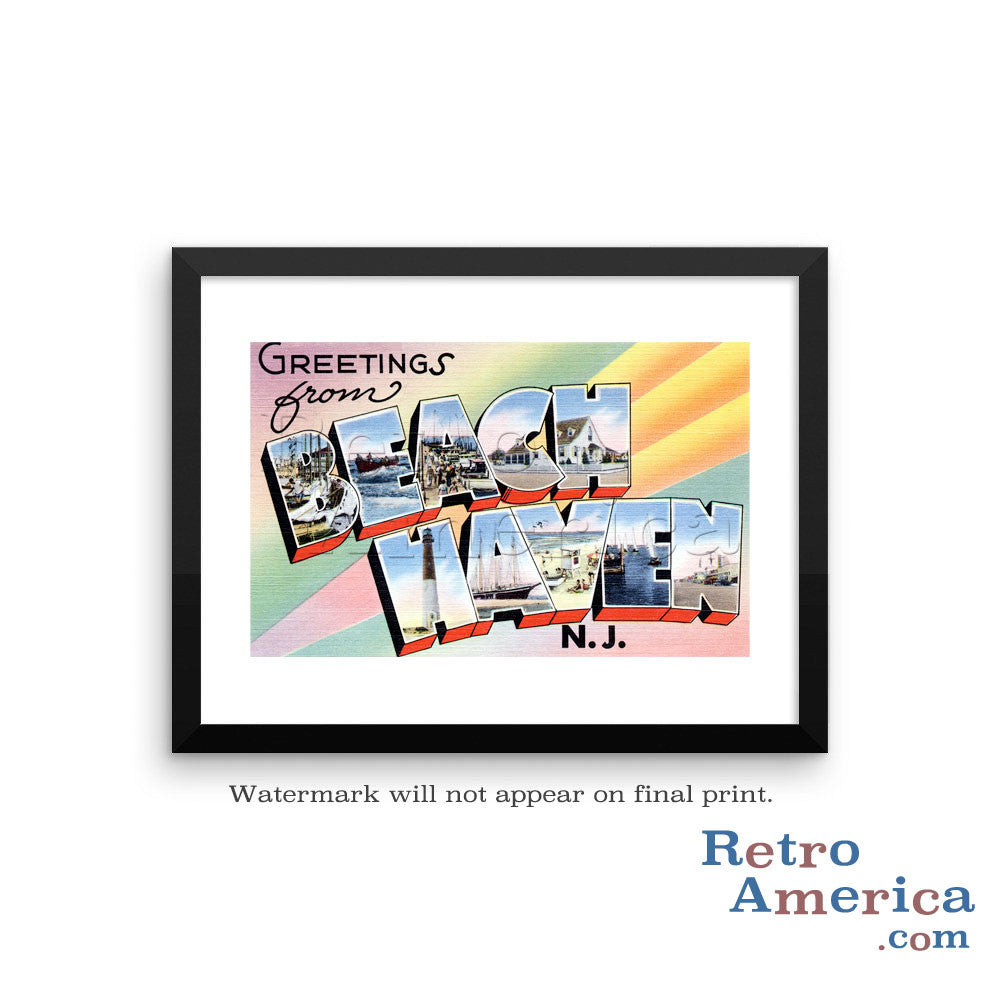 Greetings from Beach Haven New Jersey NJ Postcard Framed Wall Art