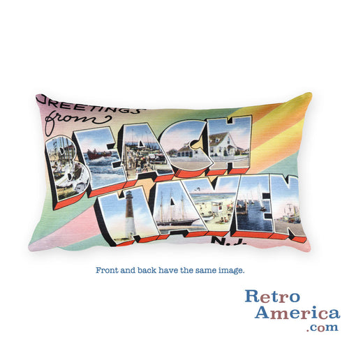 Greetings from Beach Haven New Jersey Throw Pillow