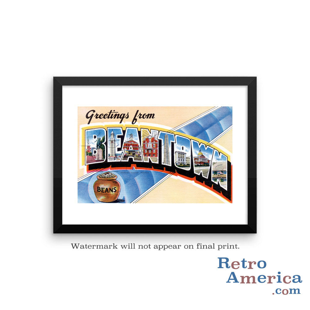 Greetings from Beantown Massachusetts MA Postcard Framed Wall Art