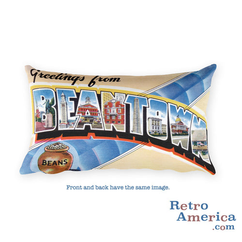Greetings from Beantown Massachusetts Throw Pillow