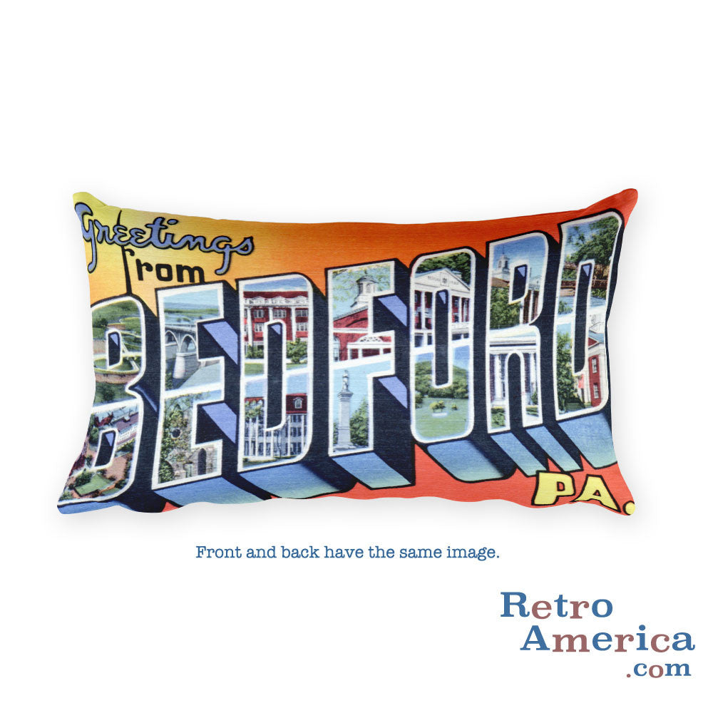Greetings from Bedford Pennsylvania Throw Pillow