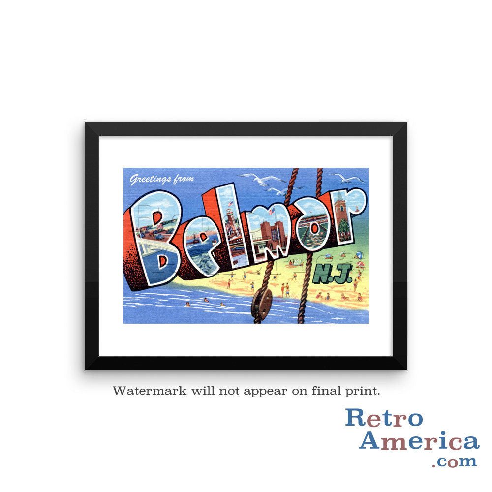 Greetings from Belmar New Jersey NJ 1 Postcard Framed Wall Art