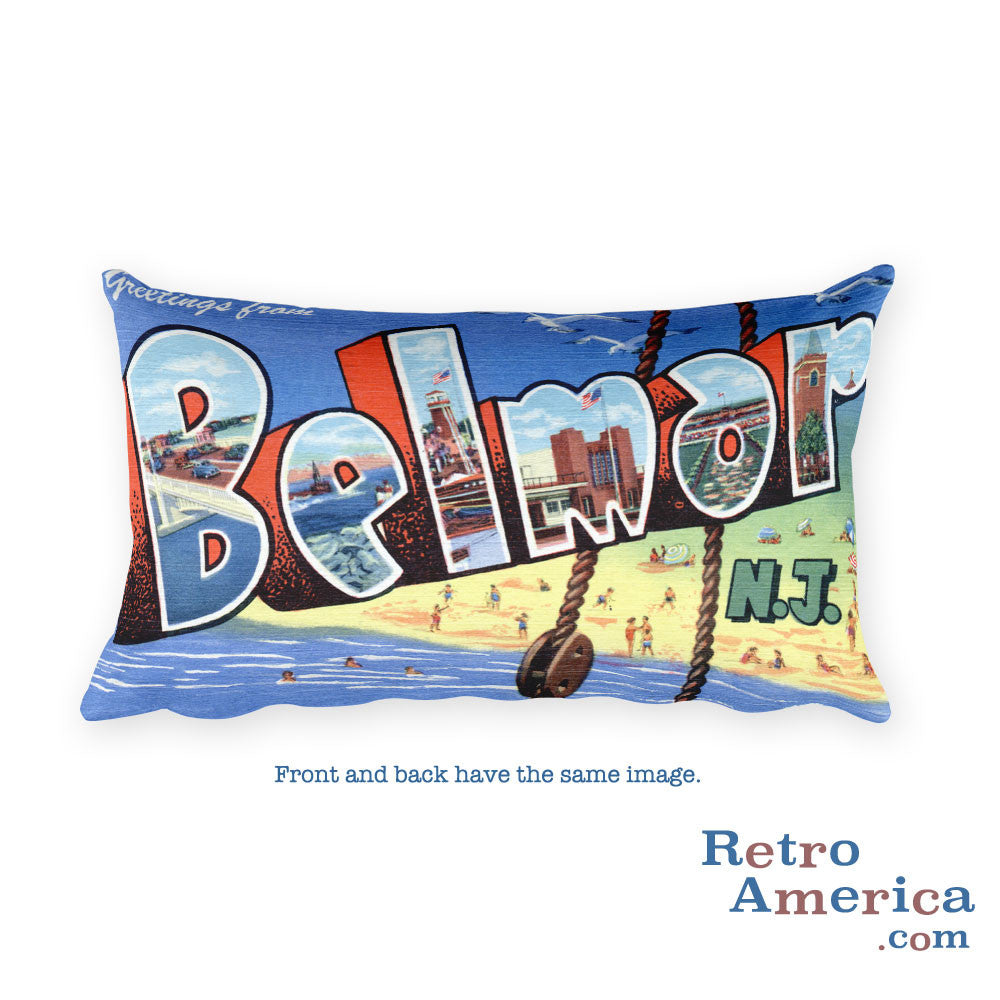 Greetings from Belmar New Jersey Throw Pillow 1