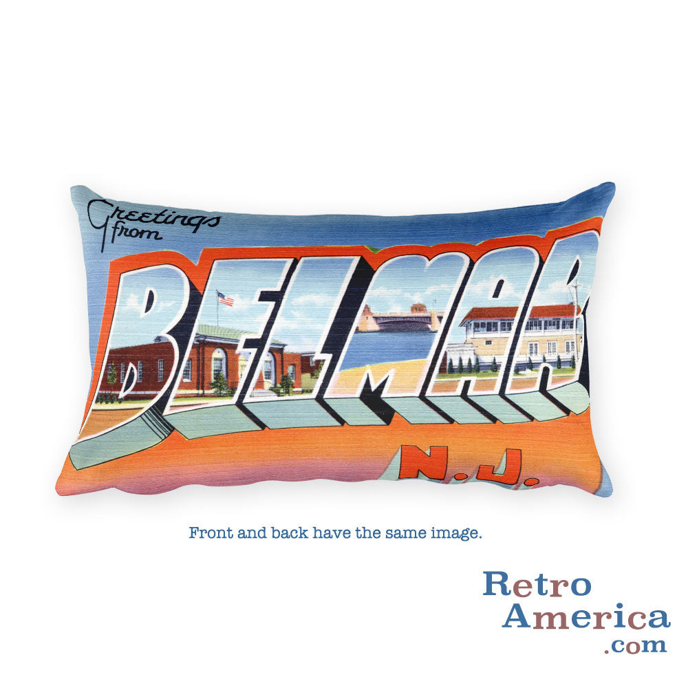 Greetings from Belmar New Jersey Throw Pillow 2