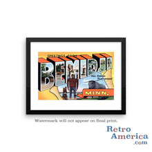 Greetings from Bemidji Minnesota MN Postcard Framed Wall Art