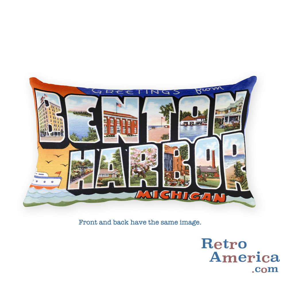 Greetings from Benton Harbor Michigan Throw Pillow