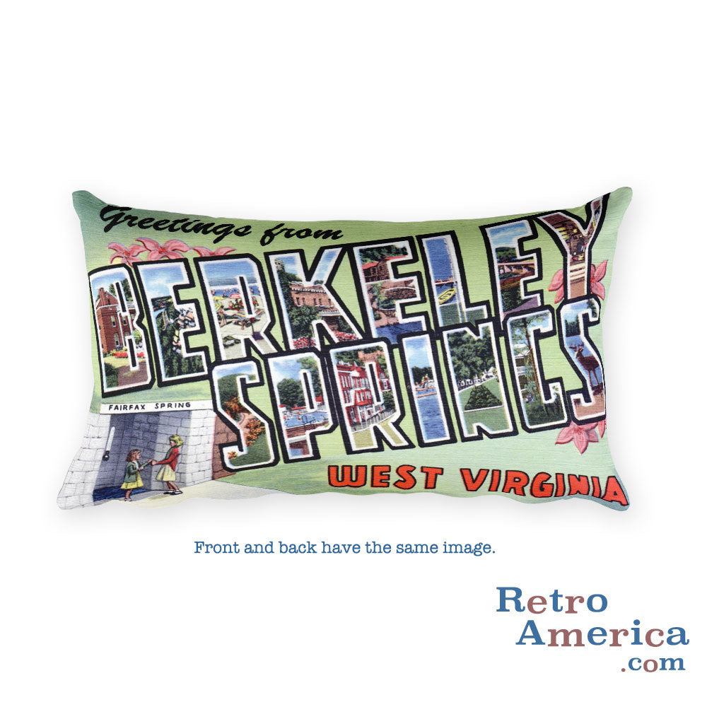 Greetings from Berkeley Springs West Virginia Throw Pillow