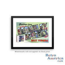 Greetings from Berkeley Springs West Virginia WV Postcard Framed Wall Art