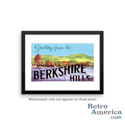 Greetings from Berkshire Hills Massachusetts MA Postcard Framed Wall Art