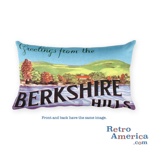 Greetings from Berkshire Hills Massachusetts Throw Pillow