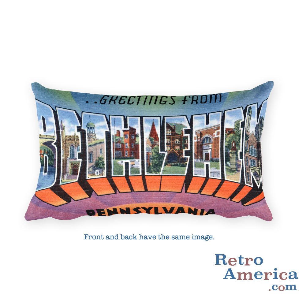 Greetings from Bethlehem Pennsylvania Throw Pillow