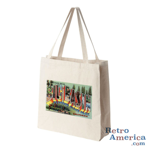 Greetings from Big Basin California CA Postcard Tote Bag