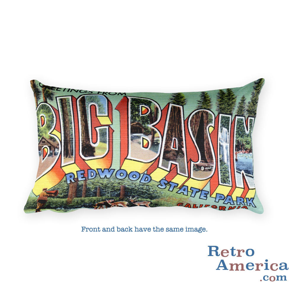 Greetings from Big Basin California Throw Pillow