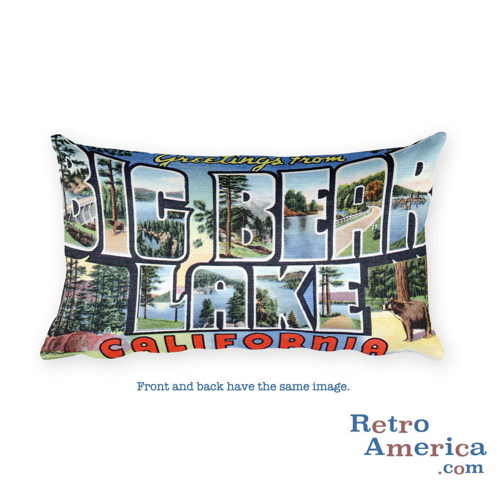Greetings from Big Bear Lake California Throw Pillow