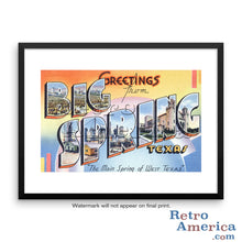 Greetings from Big Spring Texas TX Postcard Framed Wall Art