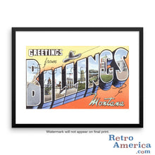 Greetings from Billings Montana MT Postcard Framed Wall Art