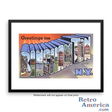 Greetings from Binghamton New York NY Postcard Framed Wall Art