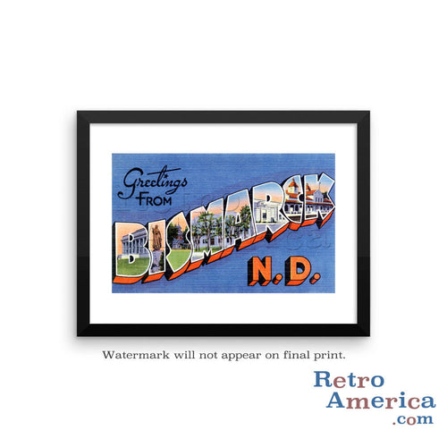 Greetings from Bismarck North Dakota ND 1 Postcard Framed Wall Art