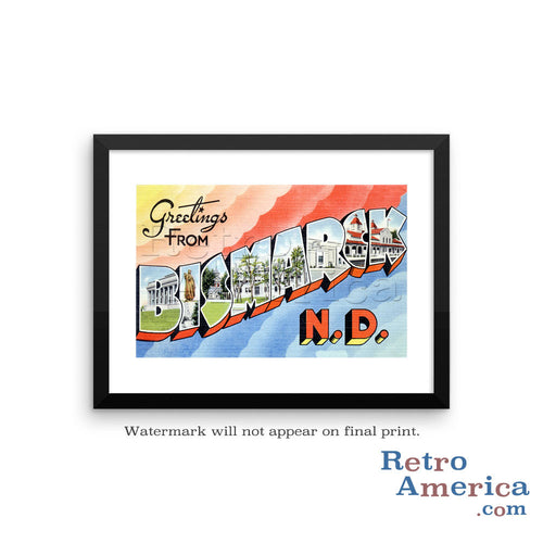 Greetings from Bismarck North Dakota ND 2 Postcard Framed Wall Art